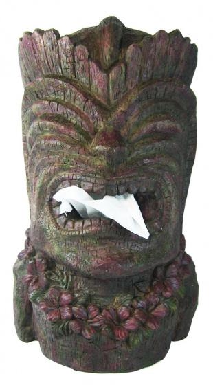 tissuehouder Tiki 31 x 19 cm polyurethaan grijs/bruin
