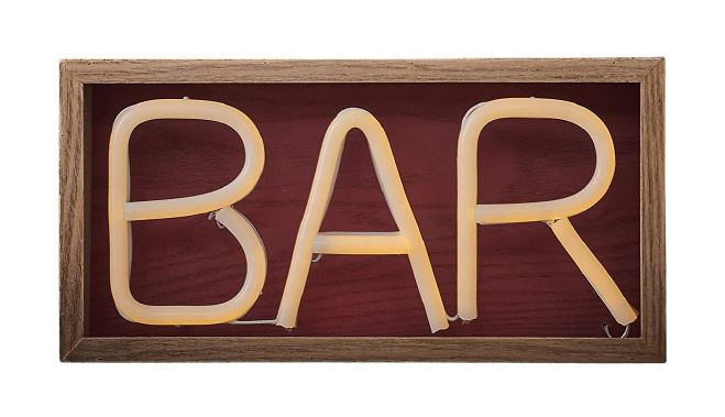 uithangbord Bar neon led 30 x 15 cm hout naturel
