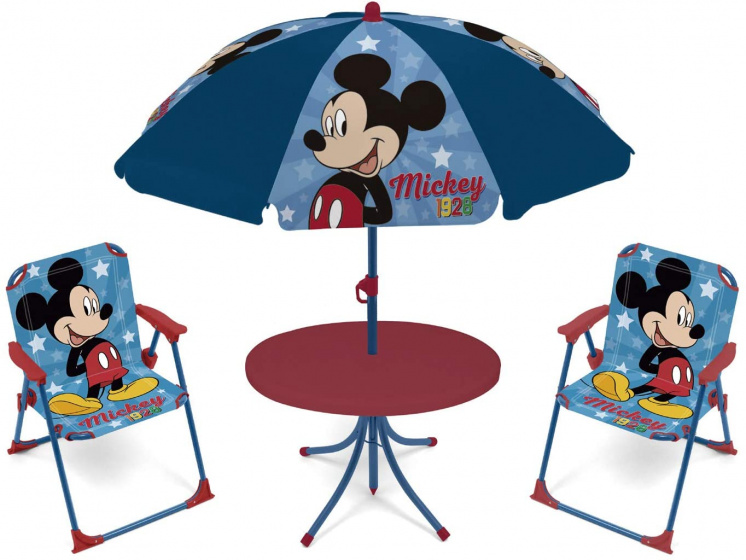 tuinset met parasol Mickey Mouse blauw 4-delig