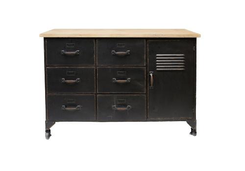 dressoir Archive 107,5x41x76cm staal/hout zwart