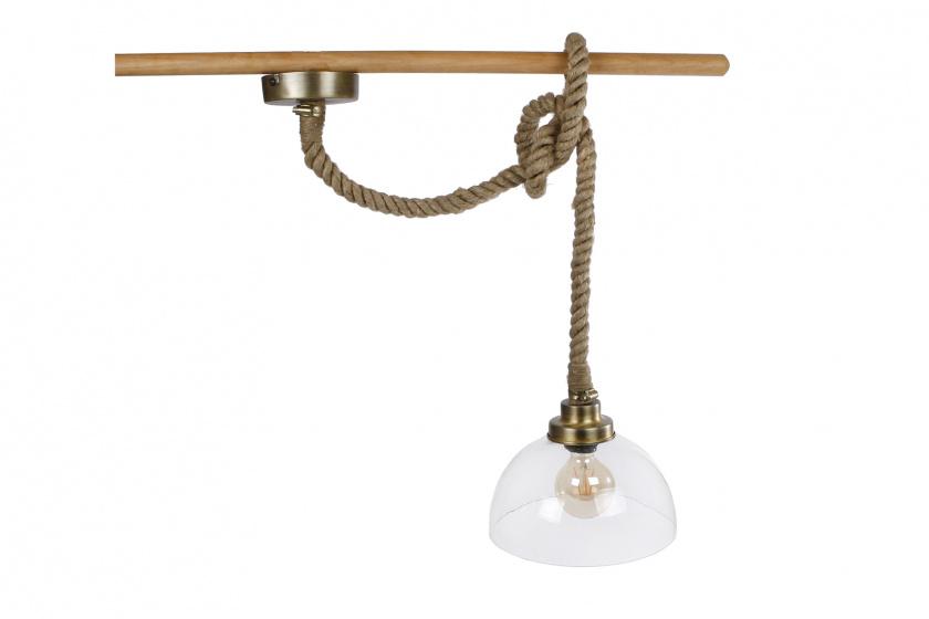 hanglamp rond met touw 27x27x22 cm glas/metaal