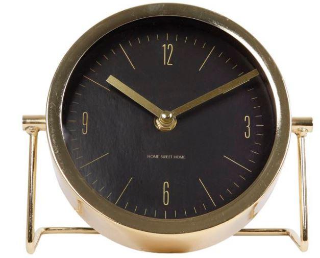 klok Robbin 18 x 7,5 cm staal goud/zwart