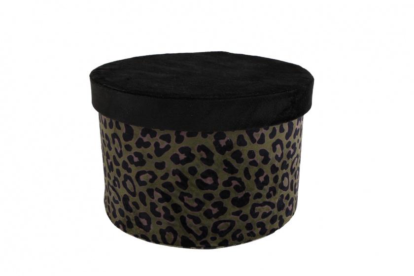 opbergbox panter 22 x 22 x 15 cm fleece groen/zwart
