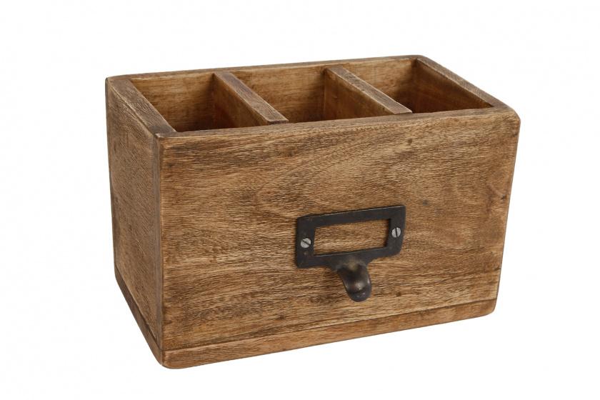 opbergbox \'Pencil\' 10x18x12 cm hout naturel