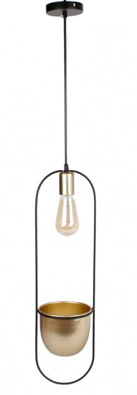 ovale hanglamp \'Martijn\' 16x15x60 cm metaal zwart/goud