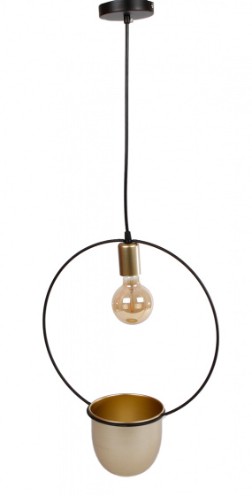 ronde hanglamp \'Martijn\' 30x15x45 cm metaal zwart/goud