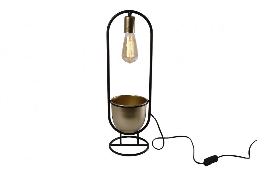 tafellamp \'Martijn\' 17x17x55 cm metaal zwart/goud