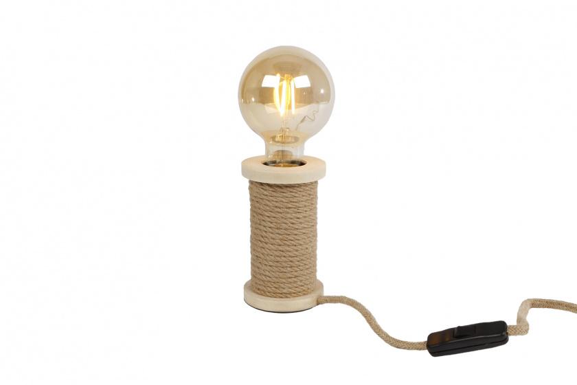tafellamp Spoel 7,5x7,5x12cm hout naturel