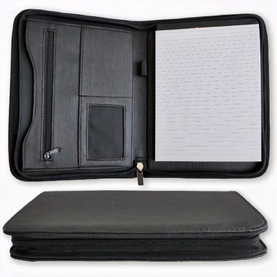 schrijfmap A5 23 x 19 cm zwart kunstleer 2-delig