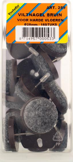 viltnagel diameter 28mm nylon bruin 16 stuks