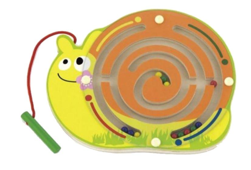 labyrint met magneetstift slak oranje/geel 22 cm