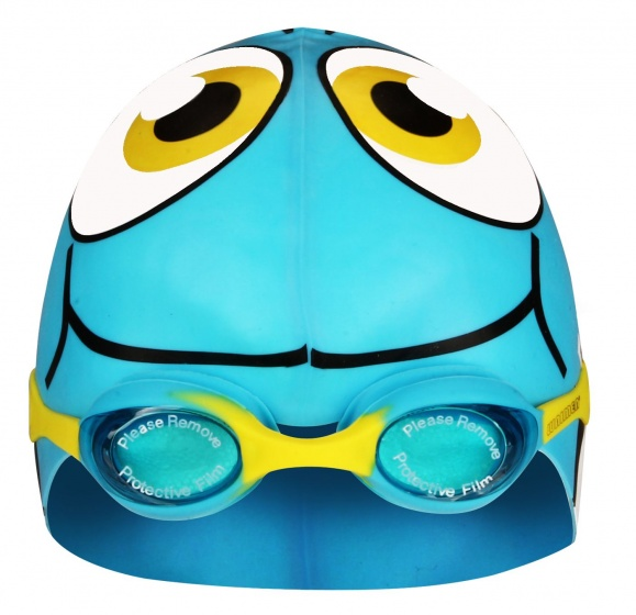 Zwembril met badmuts vis junior lichtblauw