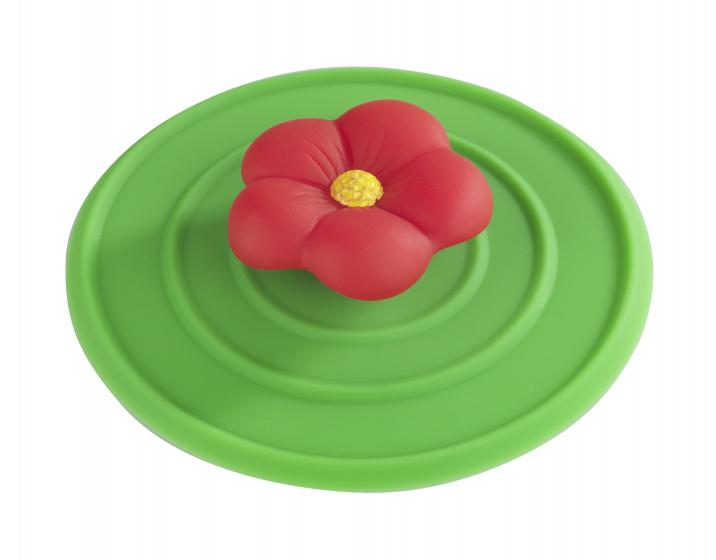 afvoerstop bloem 11 x 2 cm siliconen groen/rood