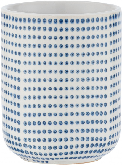 badkamerbeker Nole 7,5 x 9,5 cm keramiek wit/blauw
