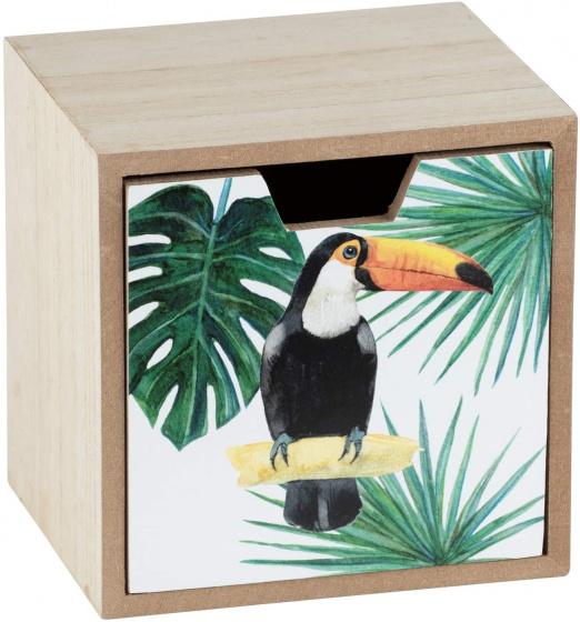 opbergbox met lade Tucan 12 x 12 cm hout groen