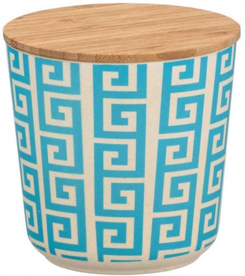 opbergpot 500 ml keramiek/bamboe wit/blauw/naturel