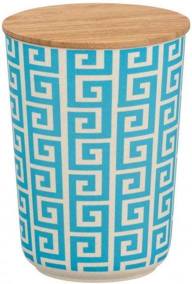 opbergpot 700 ml keramiek/bamboe wit/blauw/naturel
