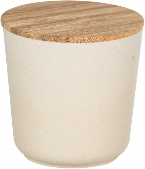 opbergpot Bondy 500 ml keramiek/bamboe crème