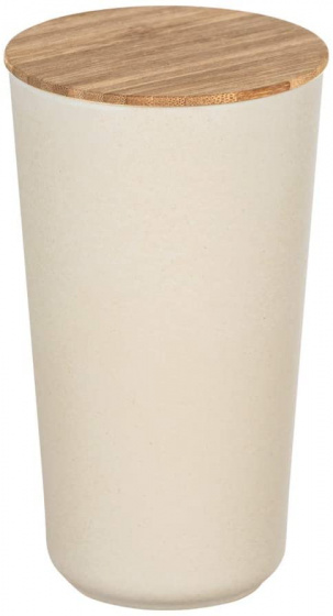 opbergpot Bondy 950 ml keramiek/bamboe crème