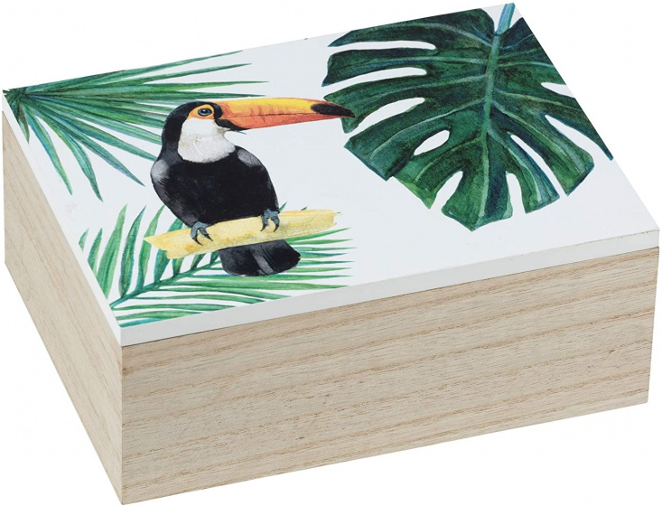 opbergdoos Tucan 20 x 8 cm hout naturel/groen