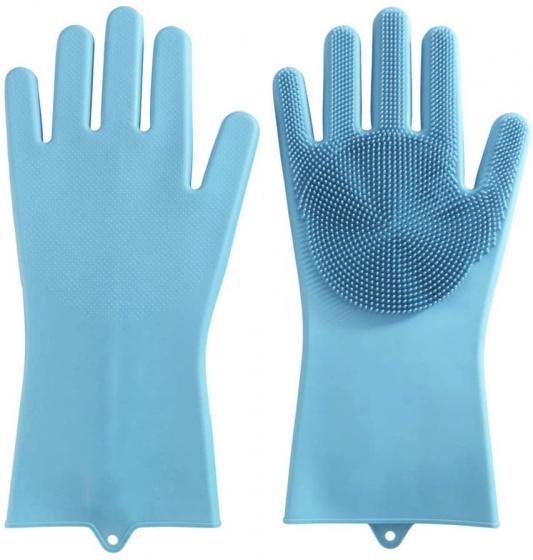 schoonmaakhandschoenen 33 x 15,5 cm siliconen blauw