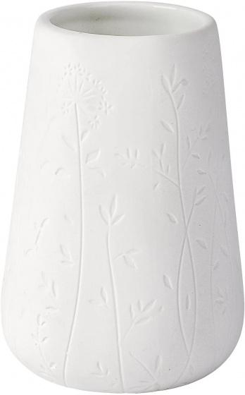 badkamerbeker Flora 8 x 11 cm keramiek wit