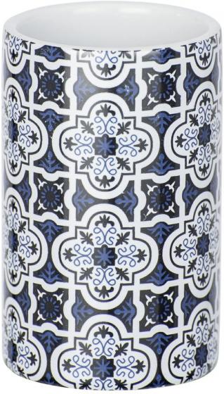 badkamerbeker Murcia 11 cm keramiek blauw/wit
