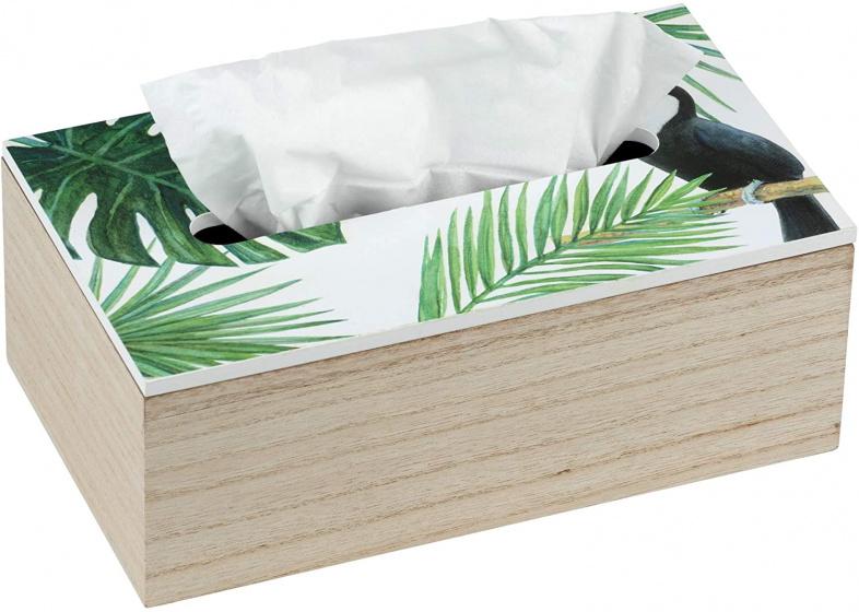 tissuehouder Tucan 24 x 14 cm hout groen