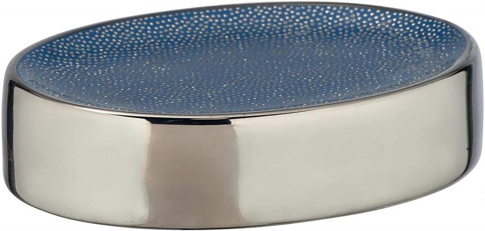 zeephouder Nuria 12 cm keramiek blauw/chroom