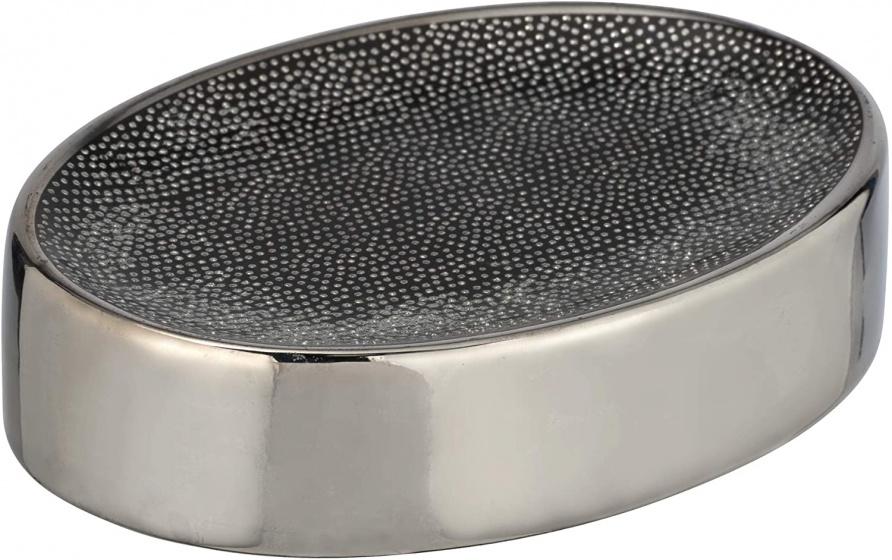 zeephouder Nuria 12 cm keramiek zwart/chroom