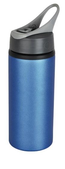 drinkfles 22,3 cm 0,6 liter aluminium blauw