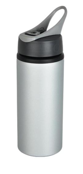 drinkfles 22,3 cm 0,6 liter aluminium zilver