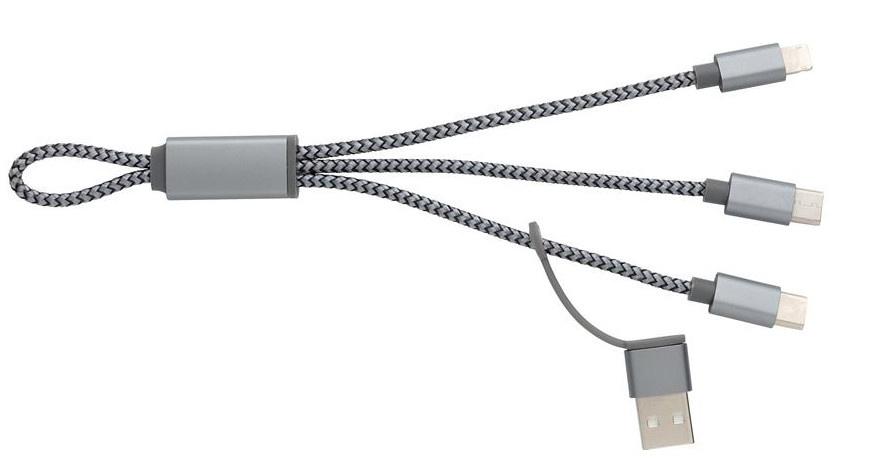 oplaadkabel 4-in-1 20 cm aluminium wit/grijs