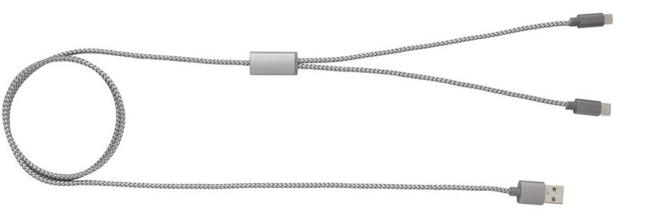 oplaadkabel 3-in-1 120 cm nylon/aluminium grijs