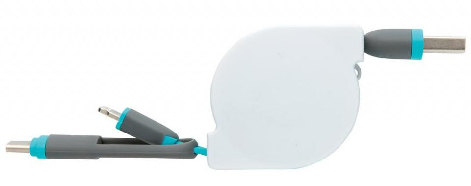 oplaadkabel 3-in-1 13 cm ABS blauw/wit