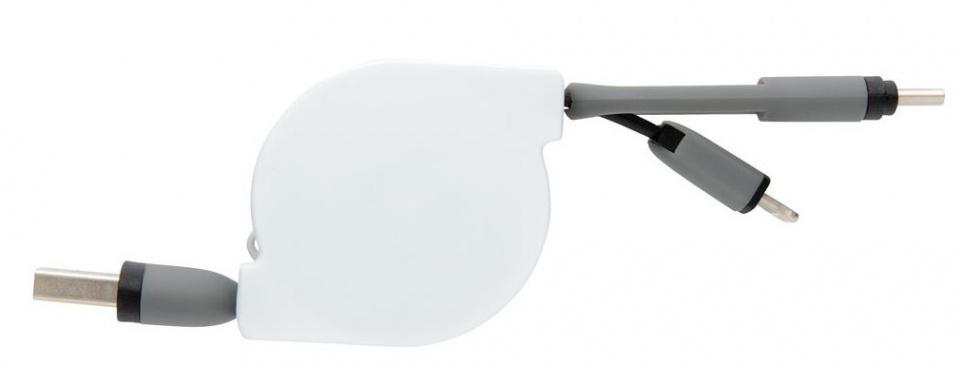 oplaadkabel 3-in-1 13 cm ABS zwart/wit