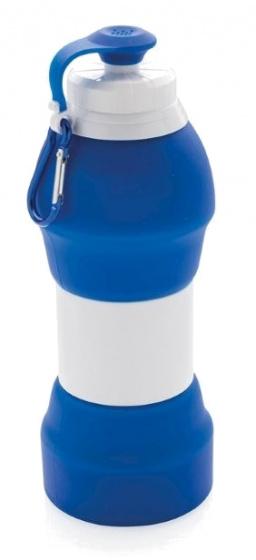 sportfles 580 ml siliconen blauw/wit