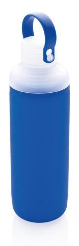 waterfles 22 cm 0,5 liter glas/siliconen blauw