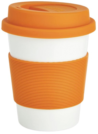 take-away beker 0,35 liter ABS/siliconen oranje