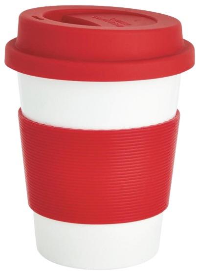 take-away beker 0,35 liter ABS/siliconen rood