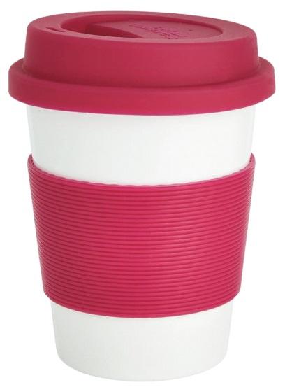 take-away beker 0,35 liter ABS/siliconen roze