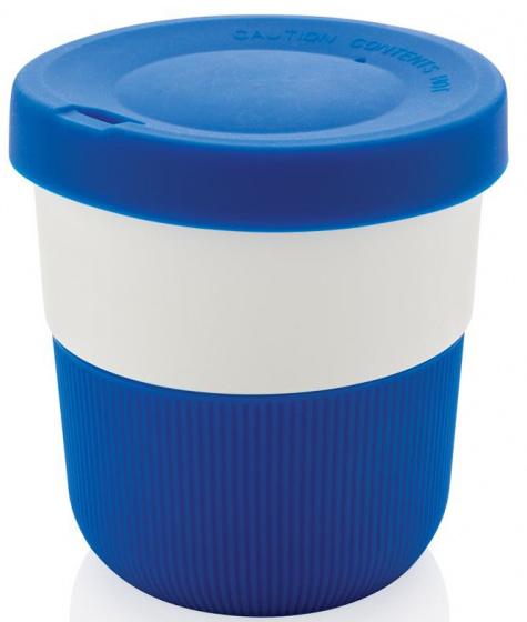 take-away beker 0,3 liter 8,6 cm ABS/siliconen blauw