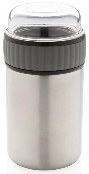 voedselcontainer 0,4 liter RVS/polypropyleen grijs