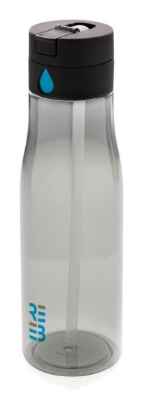 sportfles Aqua 600 ml siliconen transparant/grijs