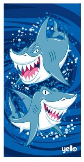 badlaken haaien blauw 75 x 150 cm