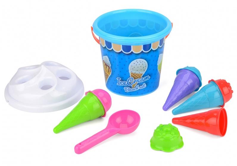 strandemmerset Ice Cream blauw/wit 7-delig