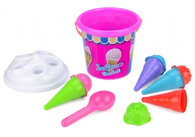 strandemmerset Ice Cream roze/wit 7-delig