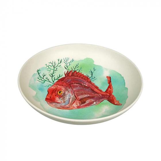soepbord Aqua 22,5 cm maïsvezel/bamboe beige/rood