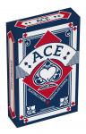 ACE speelkaarten linnen structuur 5,6 x 8,7 cm blauw 55-delig