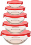 Alpina vershoudbakjes 135-1000 ml glas/PP rood 5 stuks